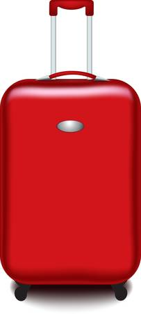 red suitcase isolated over a white background