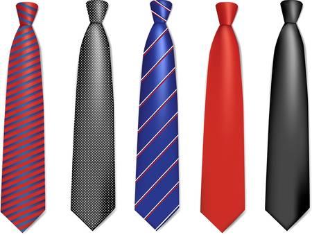 Zestaw kolorowych kolekcji krawaty Ilustracje wektorowe