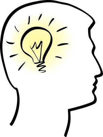 mente humana: Ilustraci�n de la l�mpara de idea en vector de cabeza humana estilizada