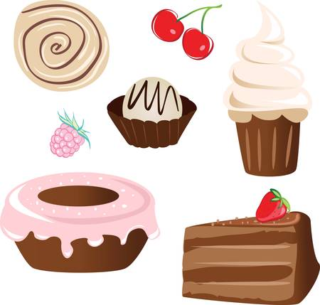 set of sweet cake. isolated on white Vector