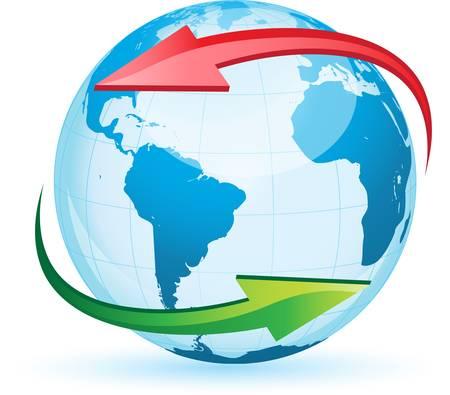 World globe map isolated on white background
