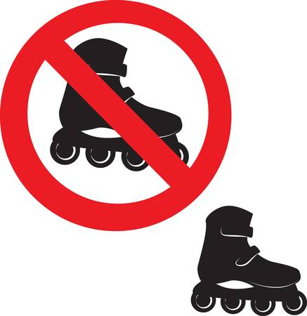 Prohibited Sign. Roller skate icon. Vector illustration Vector