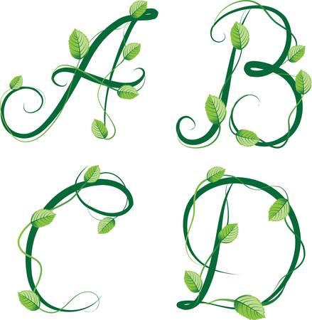 czcionki: Zielony ekologiczny alfabet lato ilustracji wektorowych