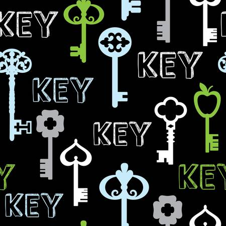 black seamless background keys. Colorful vector illustration Vector