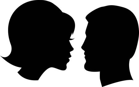 woman profile: face man and woman on white background