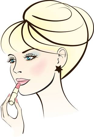 beauty woman with lipstick. Colorful vector illustration Stock Vector - 9945870