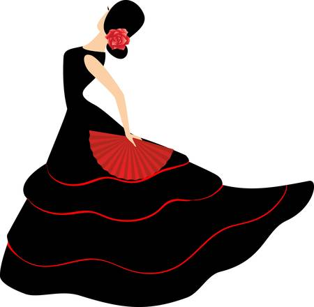 flamenco dancer: Bailarina de flamenco. Chica espa�ola con ventilador baila un flamenco, ilustraci�n vectorial