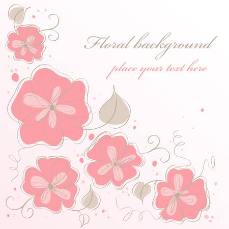 Cute handmade floral card. Colorful vector illustration Stock Vector - 9945872
