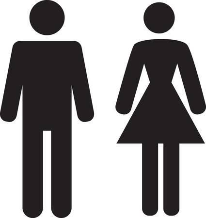 ванная комната: Мужчина и женщина значок на белом фоне Иллюстрация