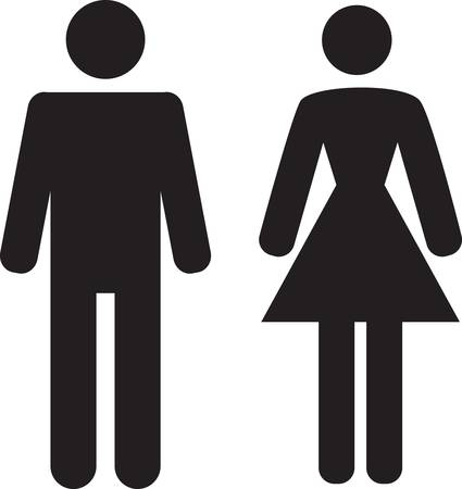 washroom: Icono de hombre y mujer en fondo blanco