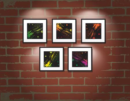 art museum: frame on brick wall. Art gallery illustration Illustration