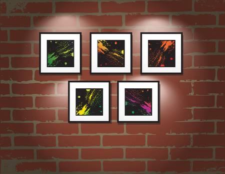 art gallery: telaio sul muro di mattoni. Galleria d'arte illustrazione Vettoriali
