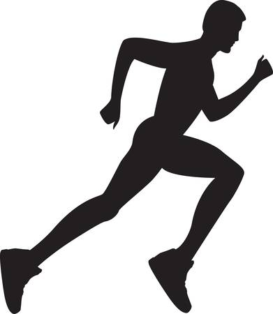 running silhouette: Silhouette of a healthy man running