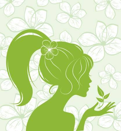 meisje silhouet: schoonheid meisje silhouet op floral achtergrond