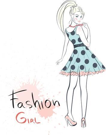 bocetos de personas: chica de belleza de moda con estilo