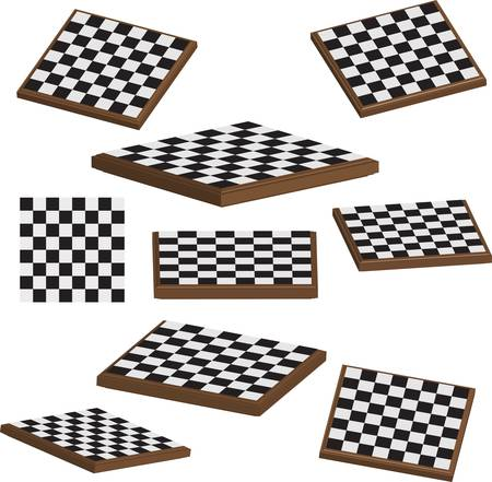 Chess board set 3d vector illustration Vector