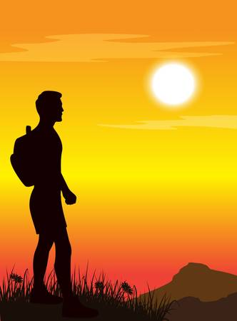 guy standing: man standing on mountains top. Vector illustration.