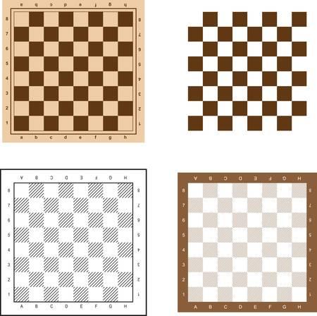 tablero de ajedrez: Tablero de ajedrez establece ilustraci�n vectorial. Vectores