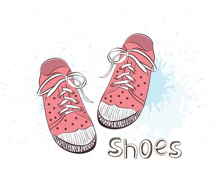 girls feet: Pink childrens or young adult shoes, pink girls shoes. Colorful vector illustration.