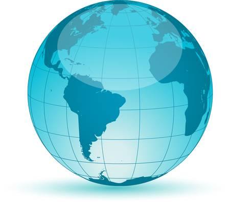 transparent globe: World globe map isolated on white background. Vector illustration.