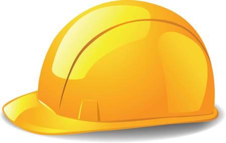 Sombrero duro de seguridad amarilla. Ilustración vectorial