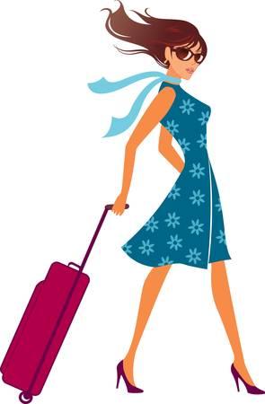 packing suitcase: donna con un sacchetto di bagagli. Illustrazione vettoriale. Vettoriali
