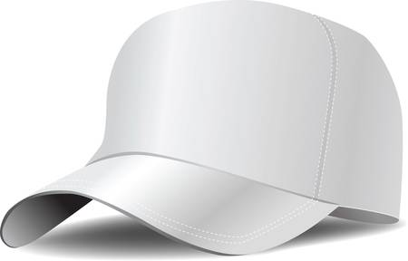 baseball cap: White baseball cap vector illustration