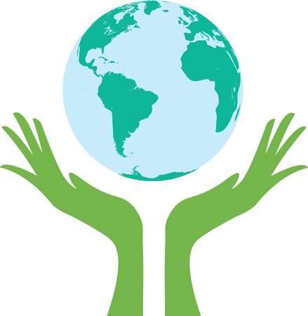 earth in hand: apoyado por manos de tierra. Signo abstracto.