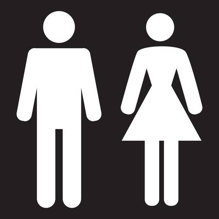 restroom sign: Man and Woman icon on a black background.  Illustration