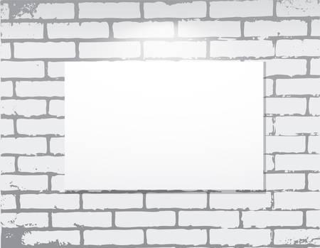 blanck: empty frame on a brick wall.  Art gallery.