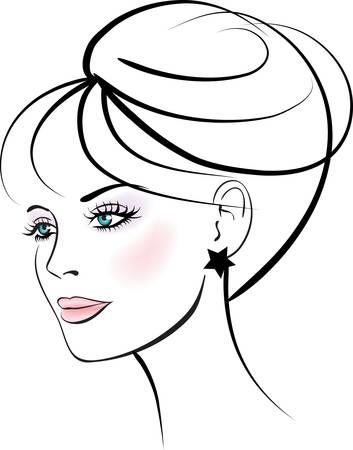 Woman face. Female portrait.  Illustration