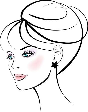 face care: Woman face. Female portrait.  Illustration