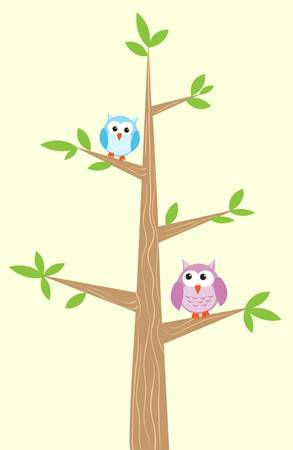 owl illustration: Two owls on the tree illustration