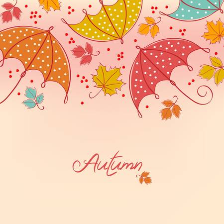 rainy season: abstract colorful autumn background. Leaves and umbrella