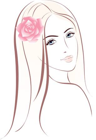 contours: Woman face. Female portrait. Colorful illustration. Illustration