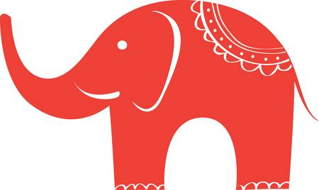 elephant icon: Red Indian elephant sign