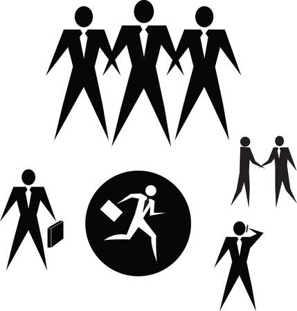 handclasp: Set Of Business People Icons, On White. Vector illustration