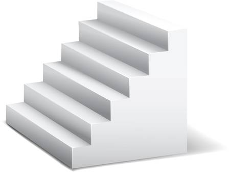 the first step: white 3d stairway. Abstract vector illustration. Pattern.