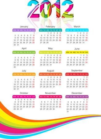 vertical calendar for 2012 year with rainbow. Vector illustration Stock Vector - 10475198