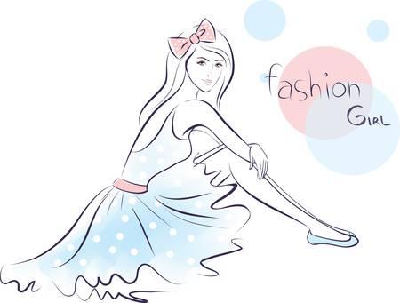 teen girl face: chica de moda elegante belleza. Ilustraci�n vectorial colorido