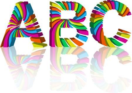 write abc: alfabeto 3d colorido. Ilustraci�n vectorial abstracta. Conjunto