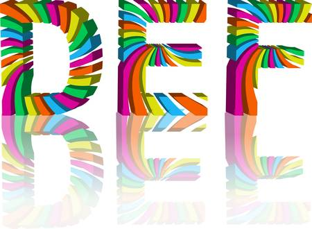 rainbow colors: colorful 3d alphabet. Abstract vector illustration. Set