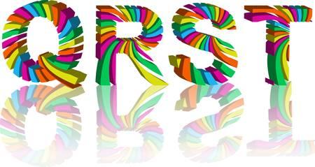 3d alphabet letter abc: colorful 3d alphabet. Abstract vector illustration. Set