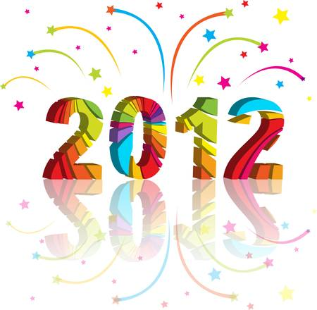 new year 2012 in colorful background design Stock Vector - 10542908
