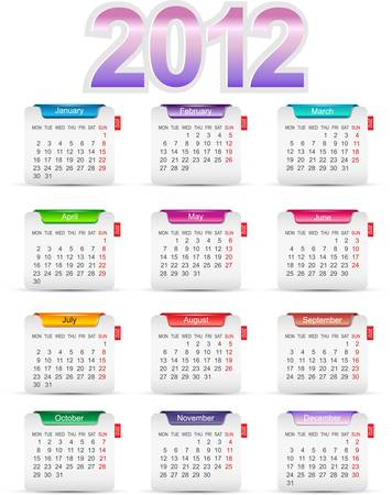Set twelve month calendars 2012. illustration Stock Vector - 10542944