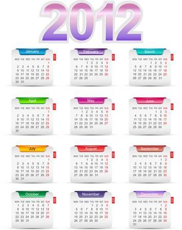 schedule appointment: Set twelve month calendars 2012. illustration