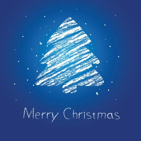 christmas icon: abstract christmas tree chalk drawing.