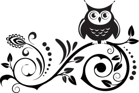 owl cartoon: cute own on a branch with decorative leaves Illustration