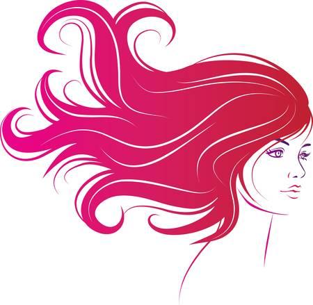 cara de mujer con cabello negro largo decorativo Ilustración de vector