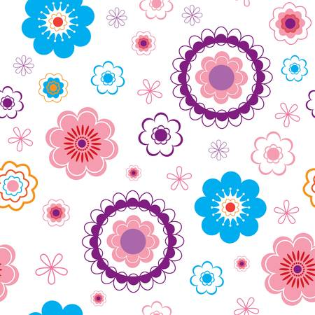 repetition: funny seamless flower background. Illustration